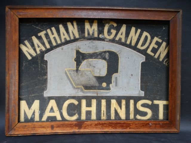 """Nathan M Gandem Machinist "" Sewing Machine Sign AP445"