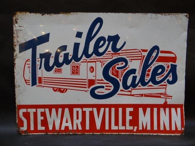 """Trailer Sale – Stewartville Minn."" Metal Sign 1950s"