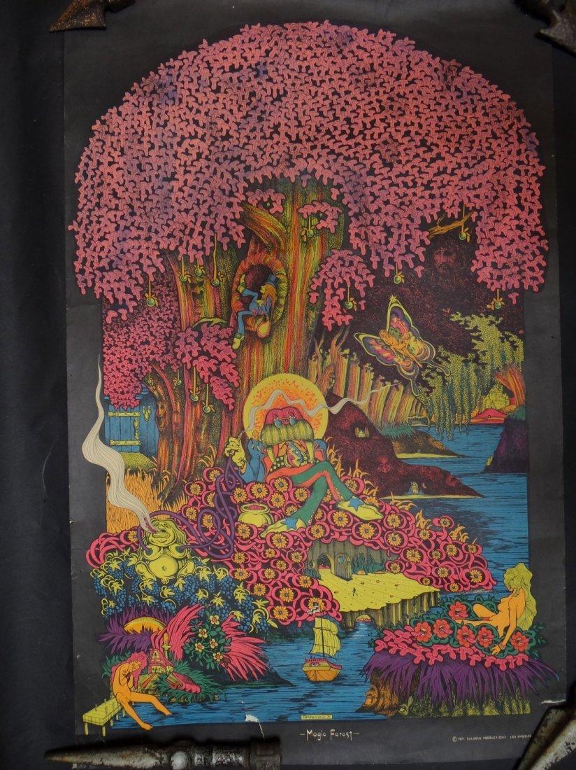 "Joe Petagno Black Light Psychedelic ""Magic Forest"" 1971"