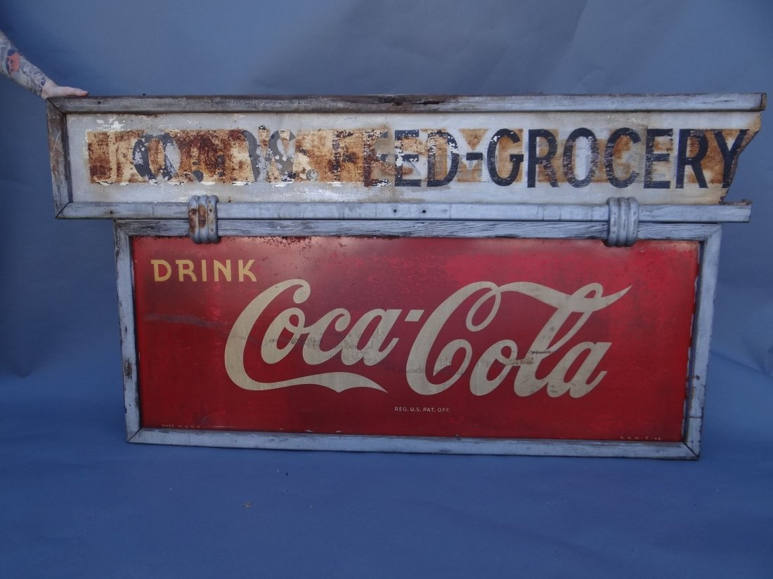 """""""Drink Coca Cola"""" Grocery Store Sign 1946 A381"""