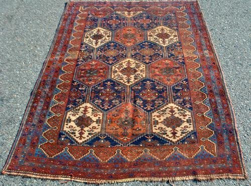 HAND KNOTTED ANTIQUE PERSIAN MALAYER RUG