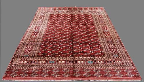 INTRICATE KNOTTED VINTAGE YOMUT TURKMAN TRIBAL RUG