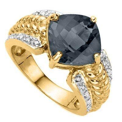 Natural Black Sapphire & Diamond 6.96 Carats Ring