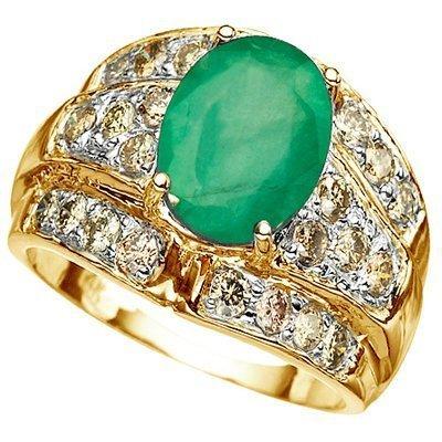 Stunning 4.00 ct Emerald & Diamond Solid Gold Ring