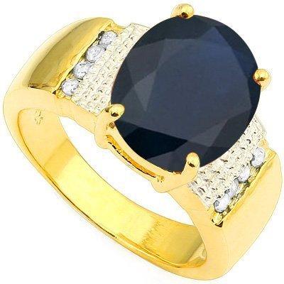 Natural Black Sapphire & Diamond 4.18 carats Ring