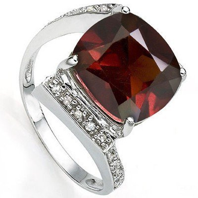 Natural Garnet & Diamond Ring 7.10 carats