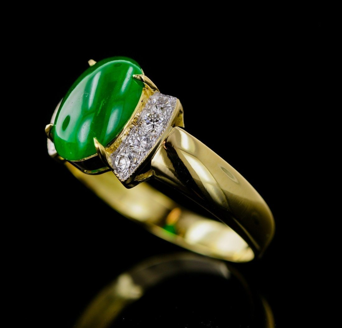 Natural Imperial Jade/Jadite Solid Gold Ring - GIA