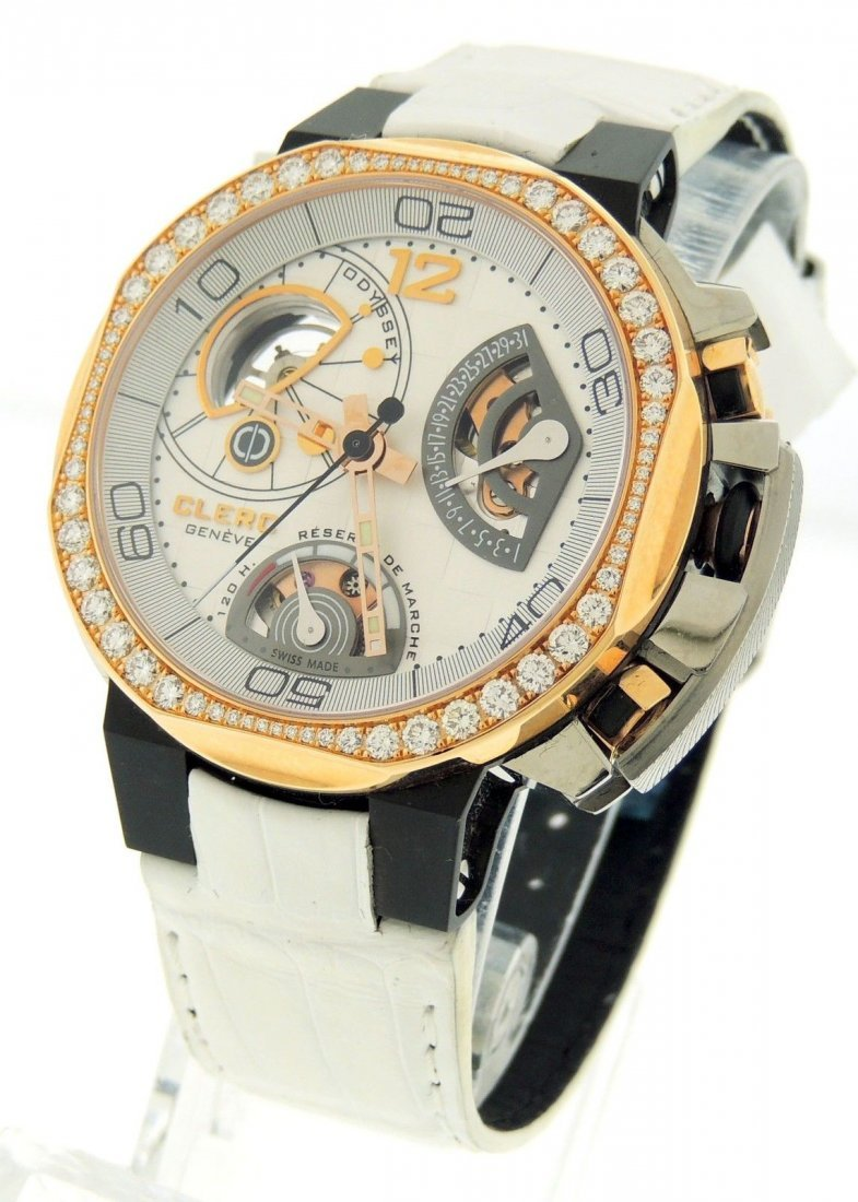 CLERC ODYSSEY 18K ROSE GOLD DIAMOND CERAMIC STEEL