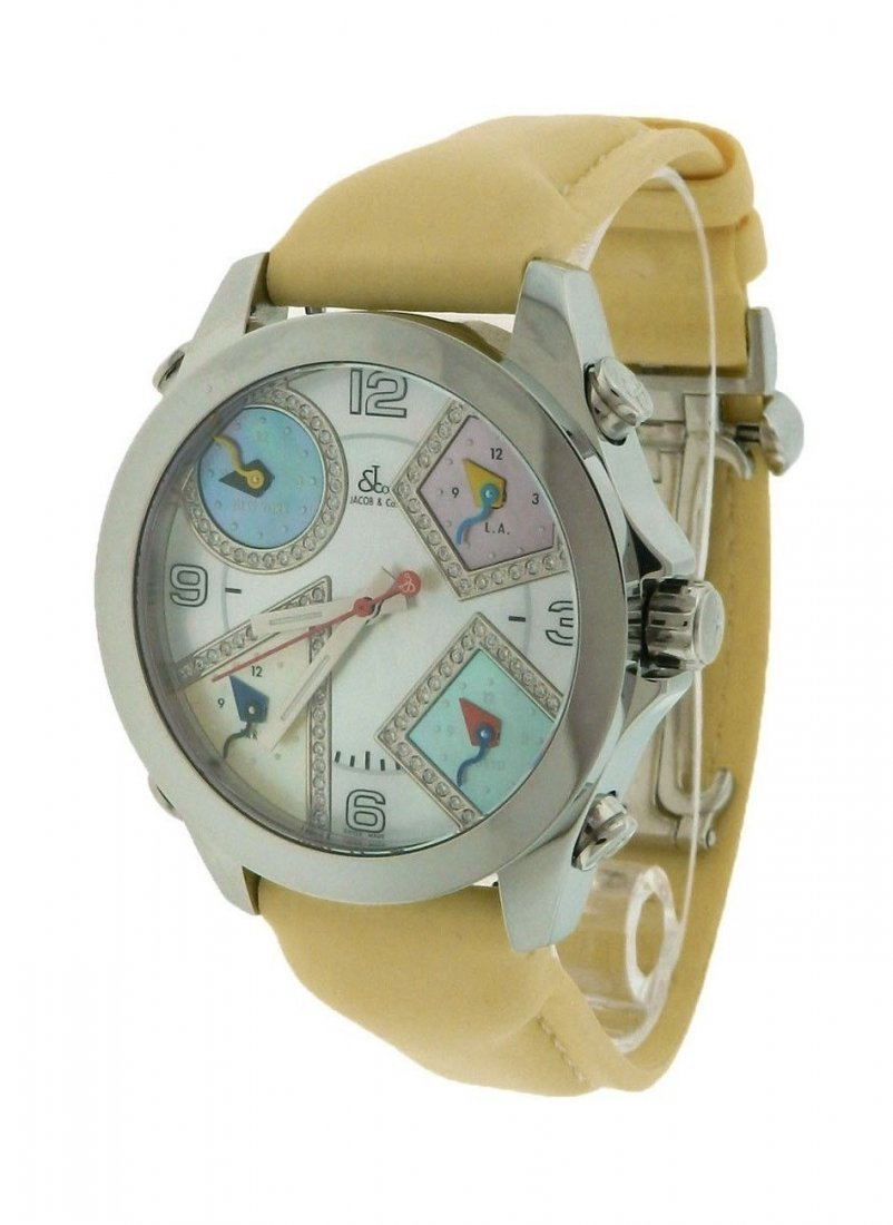 JACOB & CO. 5 TIME ZONE DIAMOND MOTHER OF PEARL QUARTZ