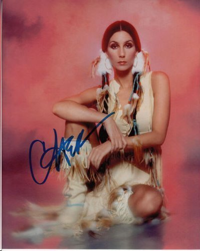 CHER IN TRIBAL DRESS AUTHENTIC SIGNED 8 X 10 PHOTOGRAPH