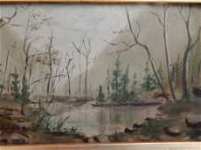 Vintage Landscape Small Oil Painting.