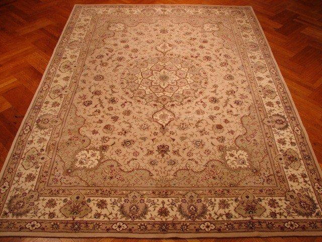 Silk & Wool Beige Color 11'X4' Sino Tabriz Tufted