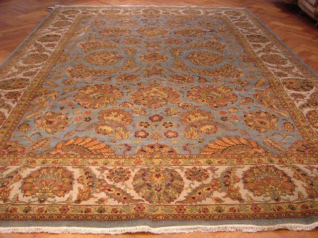 Royal Blue 14'X10' Fine Quality Silky Wool Jaipur