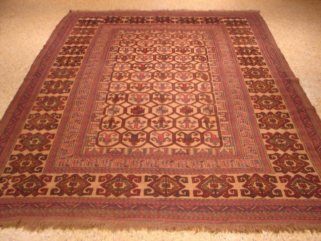 Antique Wool On Wool 8'X6' Earth Tone Colors Flat Weave