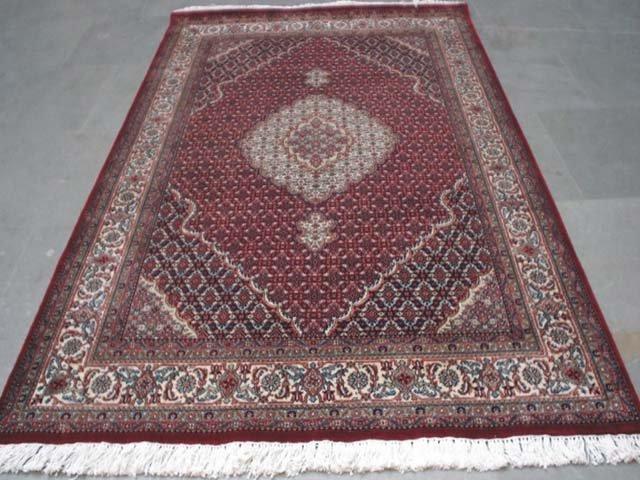 Silk & Wool 10'X7' Red Color Tabriz Mahi 40 Raj Carpet