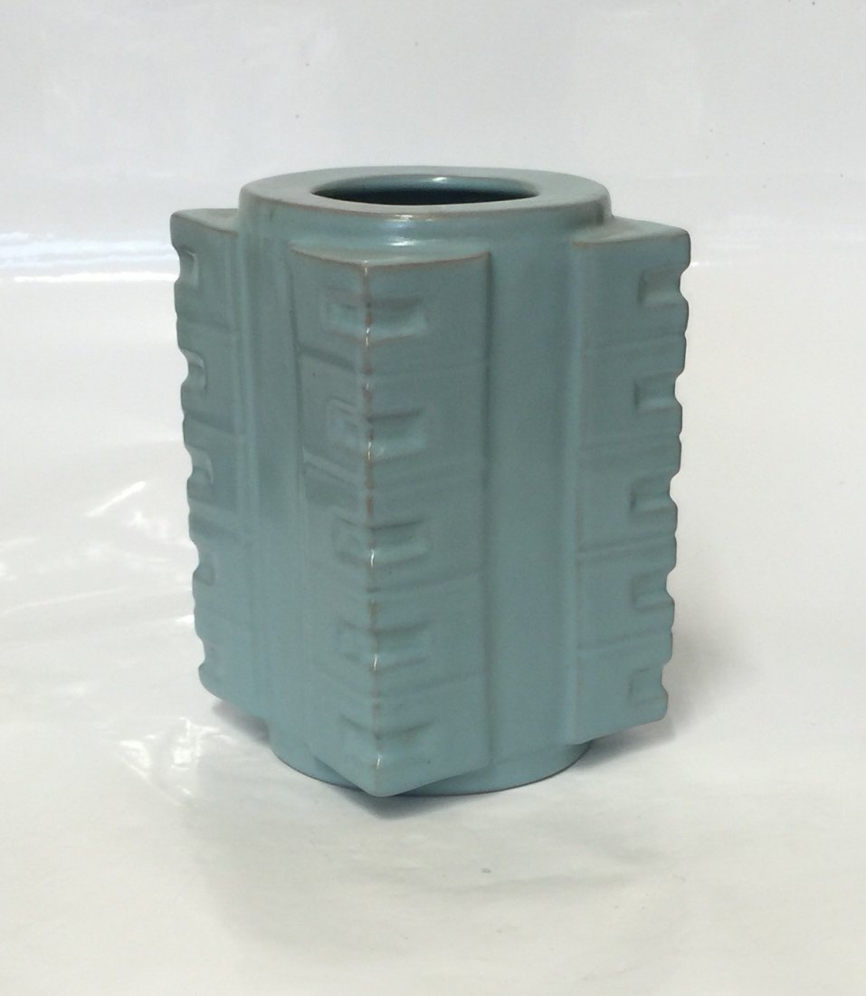 Blue glaze gong shaped vase. Song thru Ming Period.