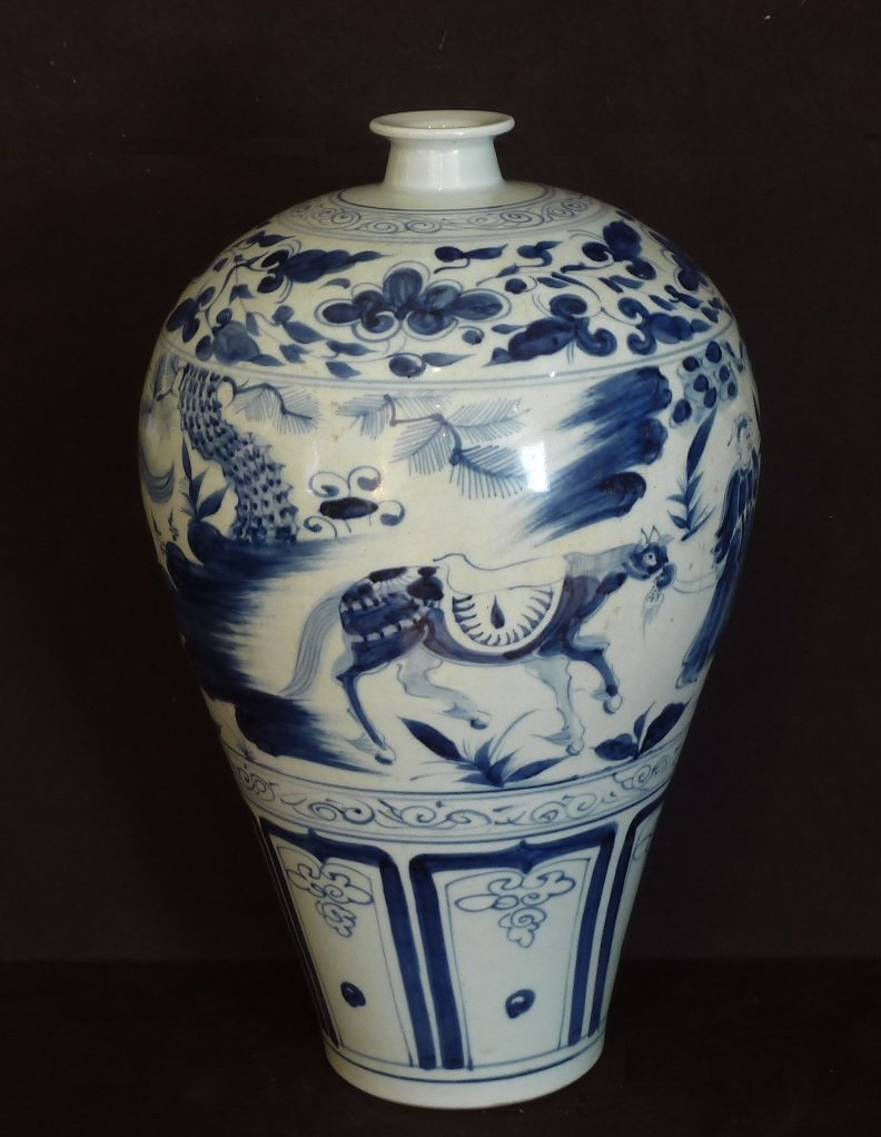 MINH PERIOD 15TH CENTURY / LARGE BLUE & WHITE CHARGER