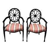Superb Pair Hepplewhite Style Spiderweb Back Arm Chairs