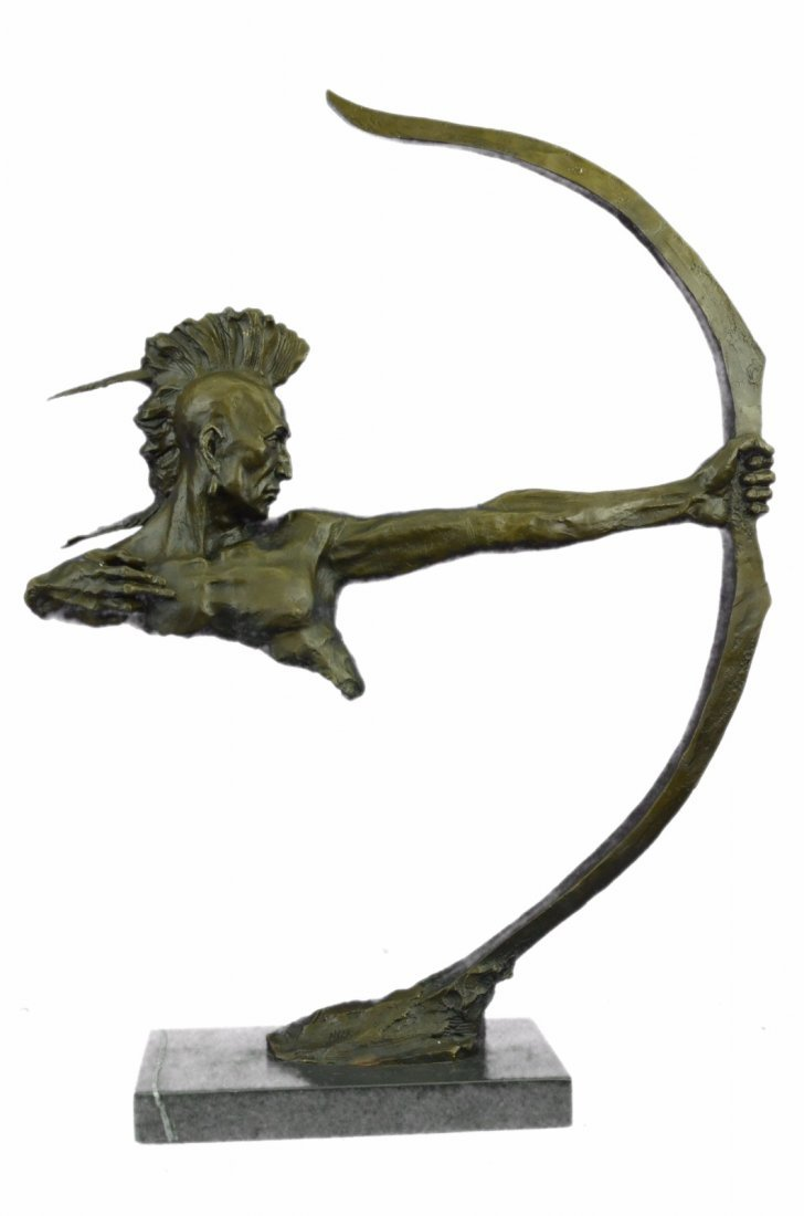 Bronze Indian Warrior With Bow And Arrow bronze
