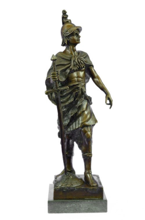 solid bronze figurine on marble base