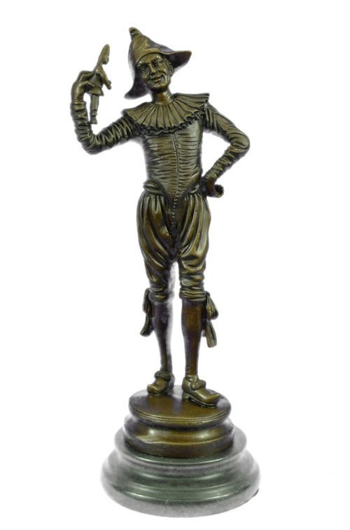 100% solid bronze figurine on marble base