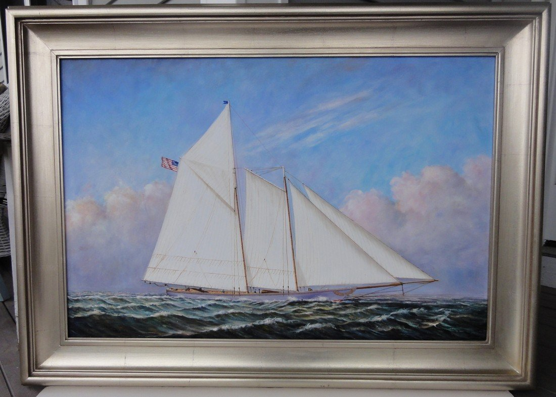 Schooner Ship, Oil Painting by D. Tayler