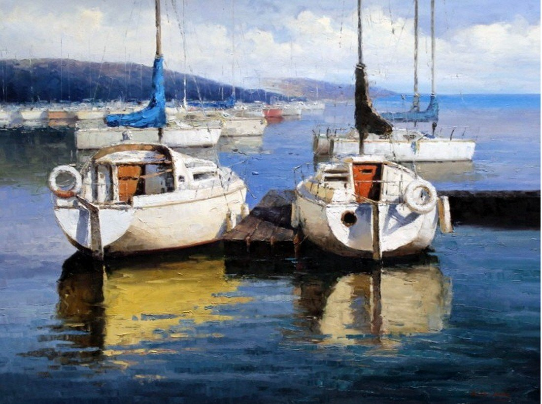At Berth, Oil on canvas
