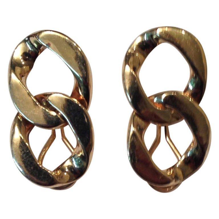 1940's Gold, Double, Rigid Link Ear Clips