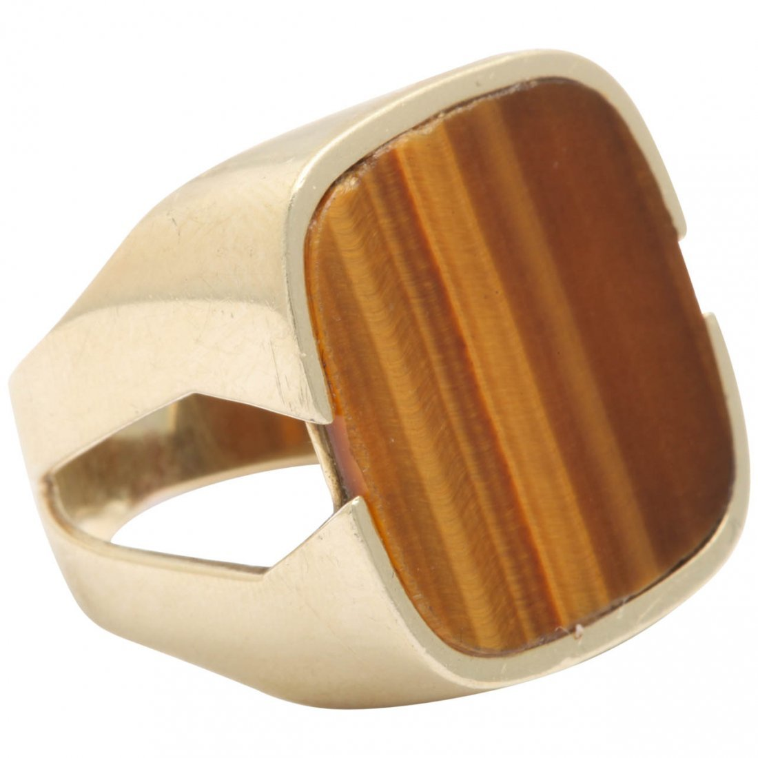 1960s Cut Out Sides Tiger's Eye Gold Gentleman's Ring