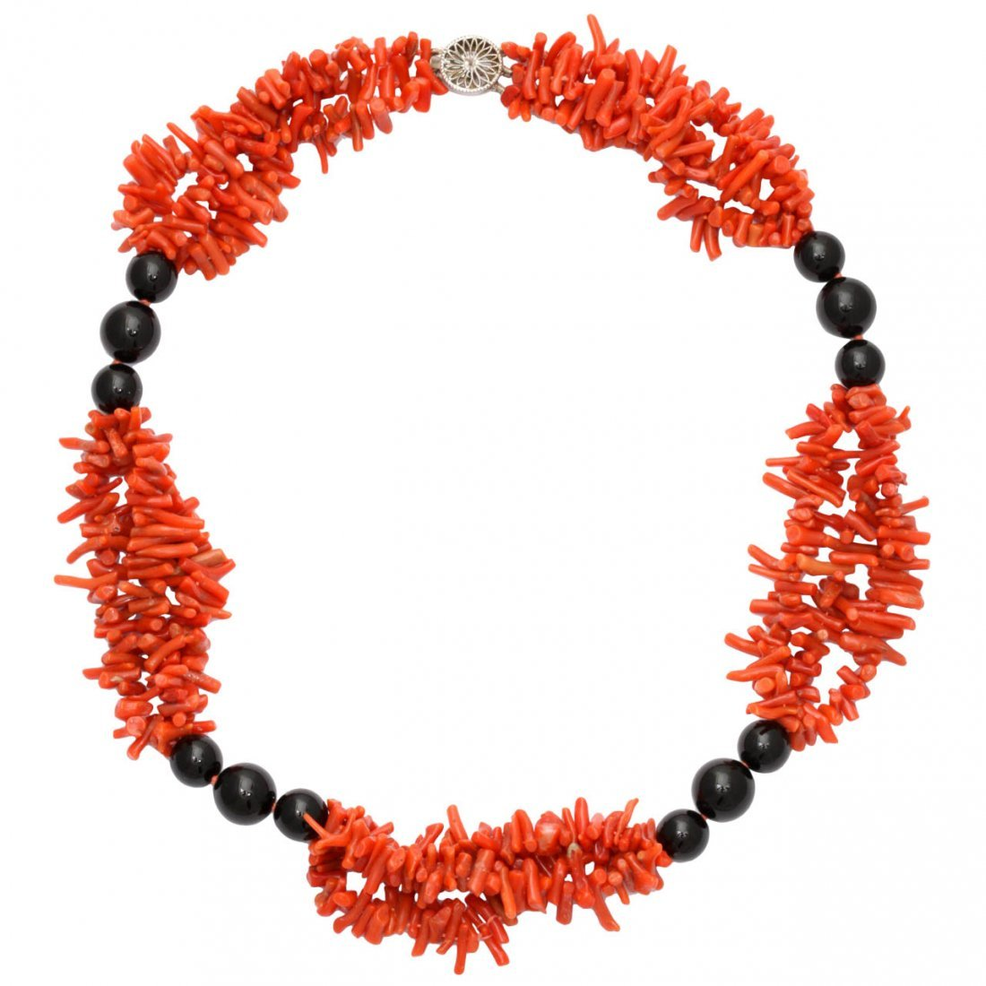 1960's Sponge Coral And Onyx Necklace With White Gold