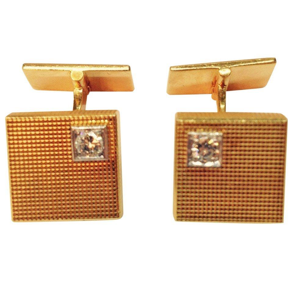 Engine Turned Diamond Yellow Gold Square Cufflinks