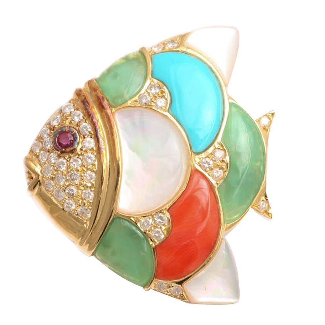 1980's Gold And MultiColored Stone Gem Set Whimisical