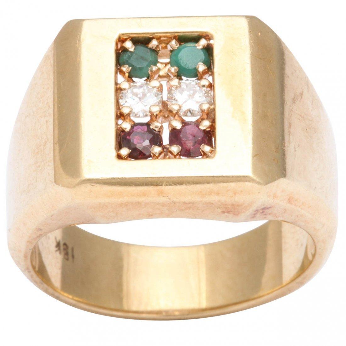 1950's Gold Emerald Diamond Ruby  Ring