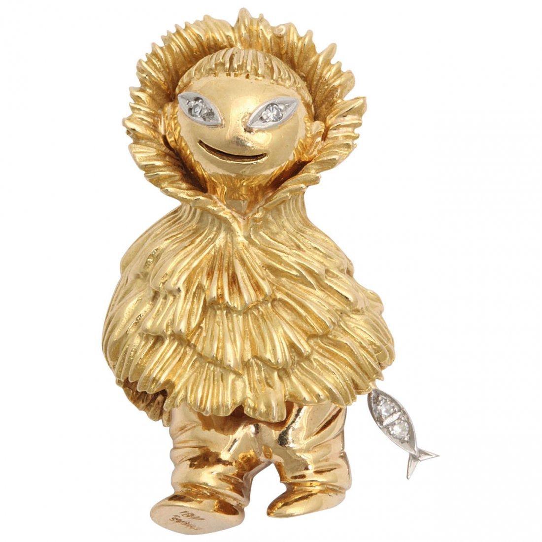 1950s Diamond Textured Gold Whimsical Eskimo Holding