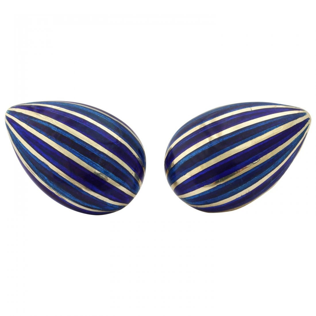1960s Martine Royal Blue Enamel Striped Almond Shaped