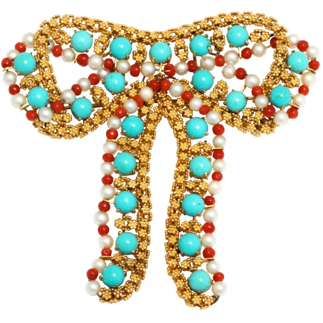 Jumbo Gold Turquoise Coral And Pearl Bow Brooch