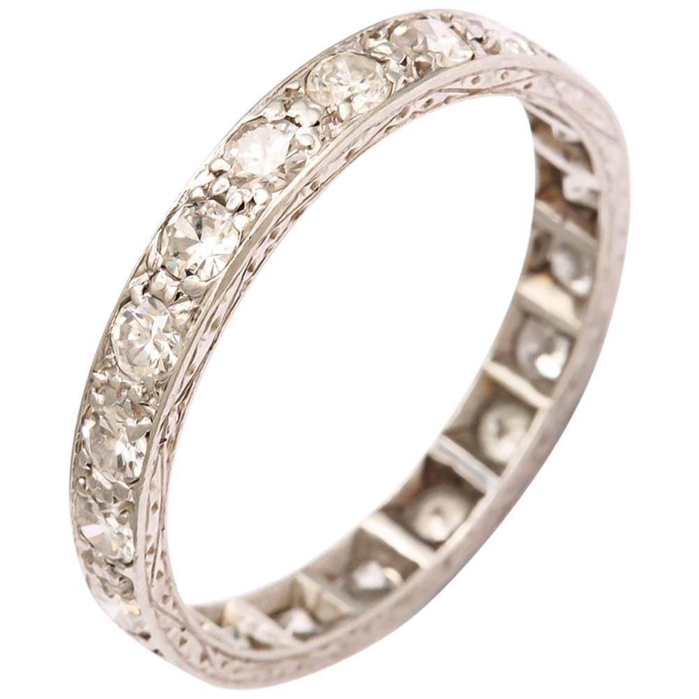 Art Deco Diamond Platinum Hand Engraved Eternity All