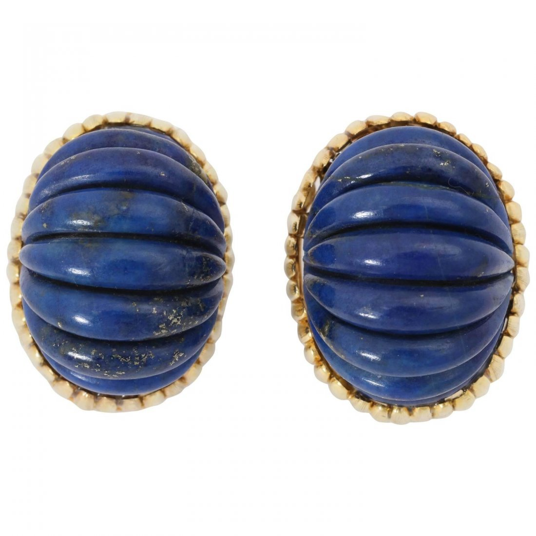 1960s Fluted Lapis Lazuli Textured Gold Clip-On