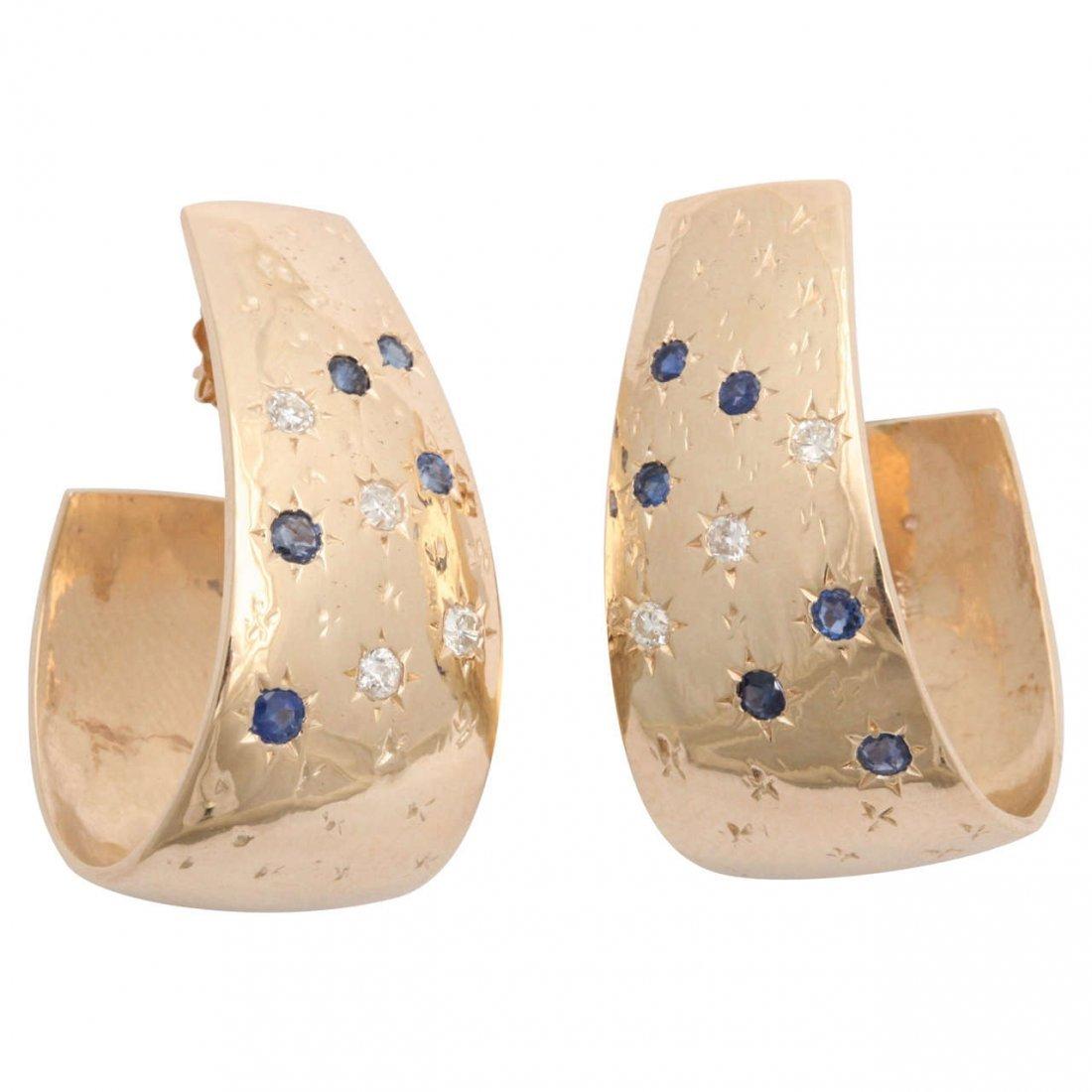 1940s Sapphire Diamond Gold Set in Stars Half Hoop