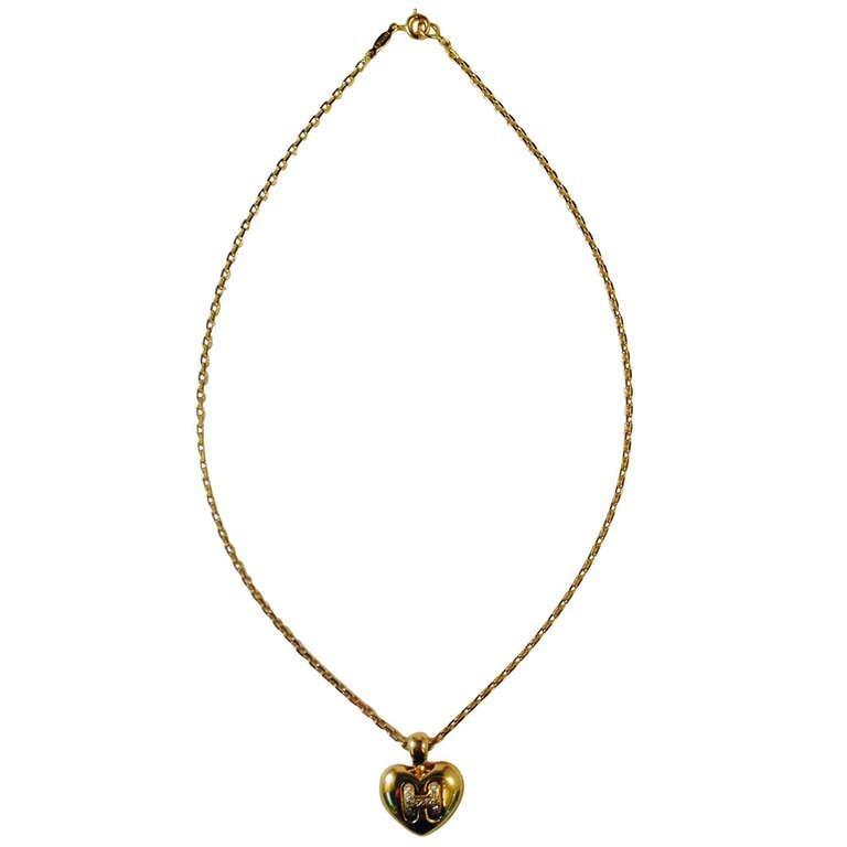 Hermes Paris Diamond Gold Heart Pendant