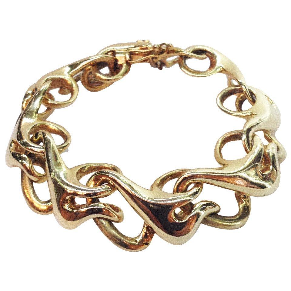 Asymmetrical Open Swirl Links Gold Everyday Bracelet