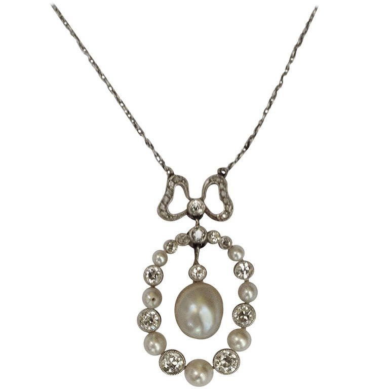 Edwardian Delicate Diamond And Natural Pearl Pendant