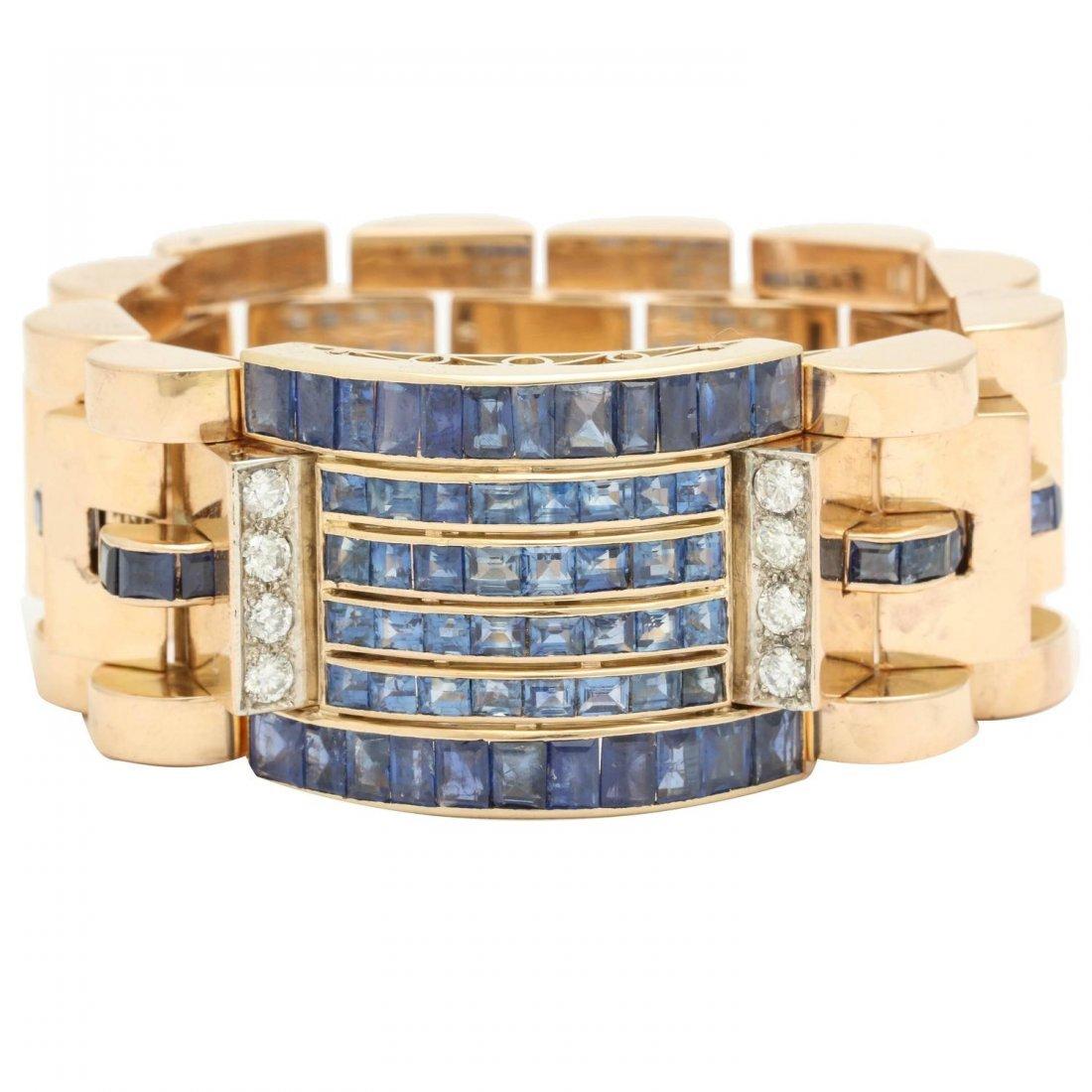 1940s Calibre Cut Sapphire Diamond Gold Flexible Link
