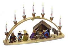 Large Steiff Christmas Schwibbogen Nativity Scene EAN