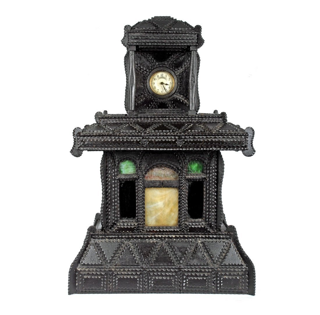 Tramp Art Clock Case with Stained Glass Inserts