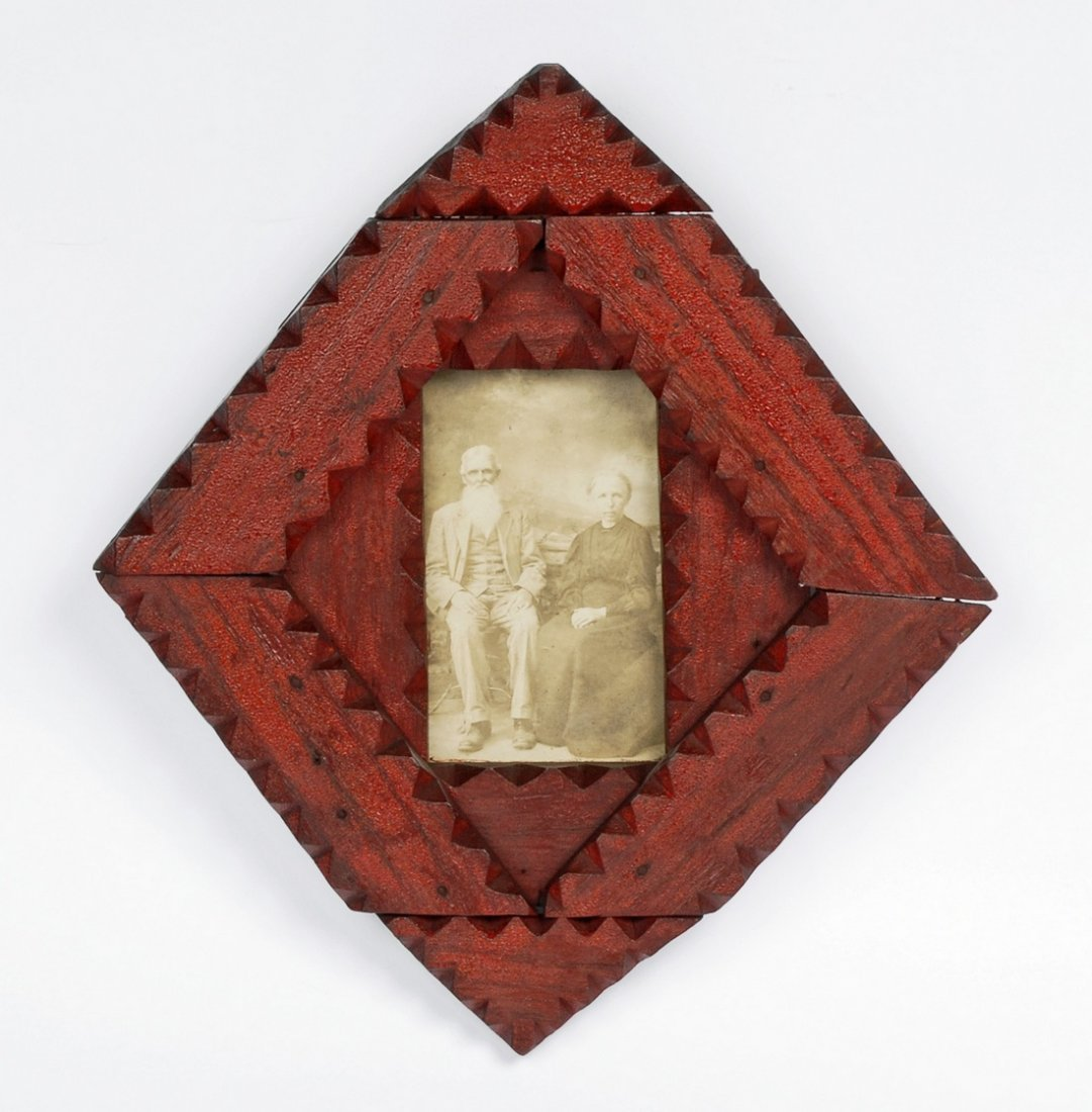 Red Painted tramp Art Frame