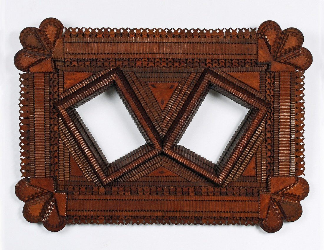 Tramp Art Double Portrait Frame with Floral Corners