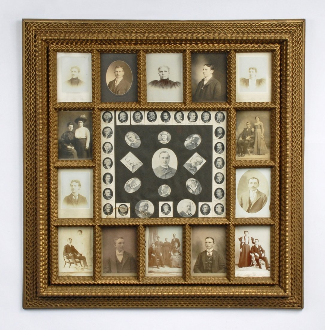 Large Tramp Art Portrait Frame with Presidents and