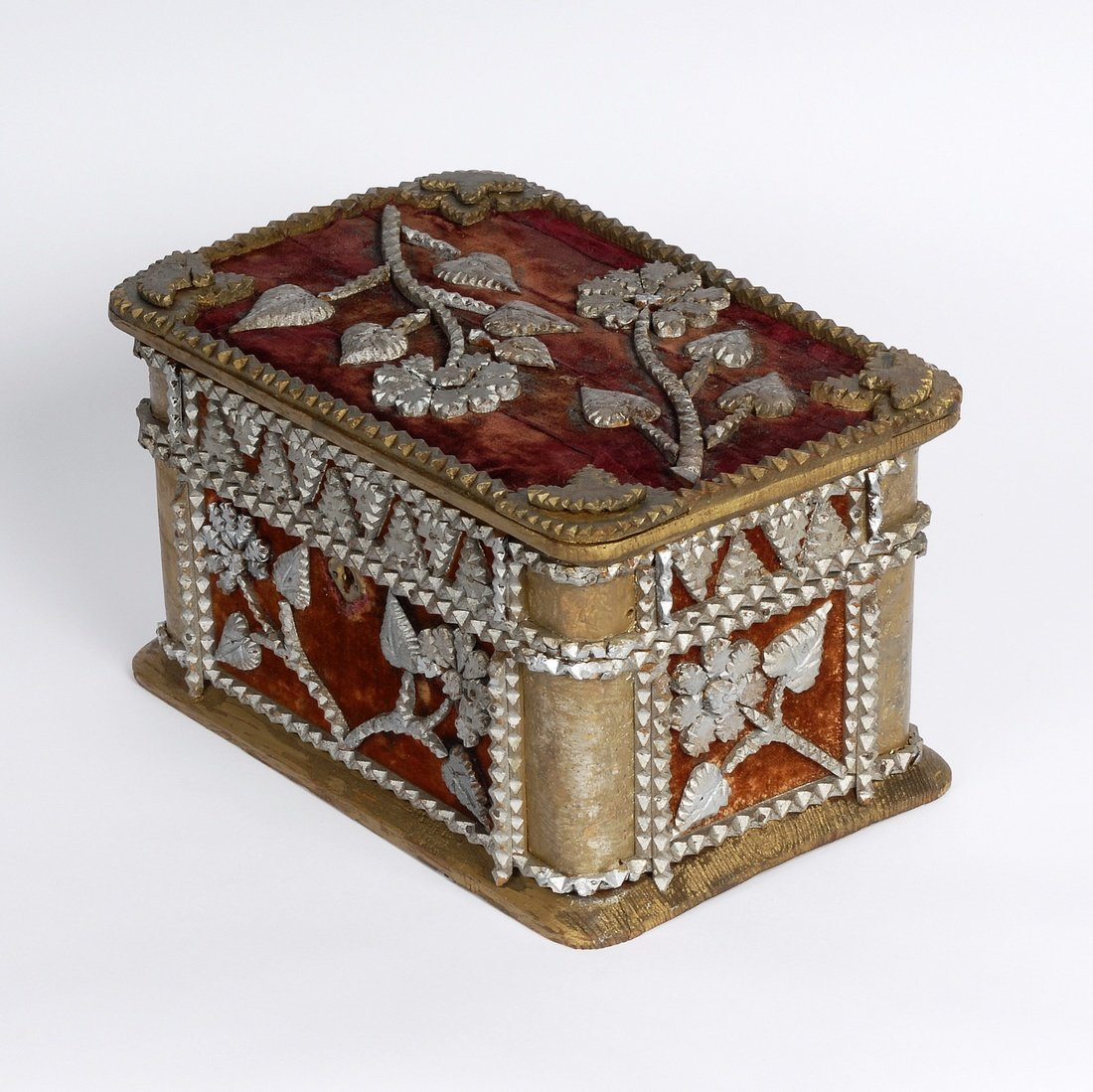 Tramp Art Box with Floral Designs