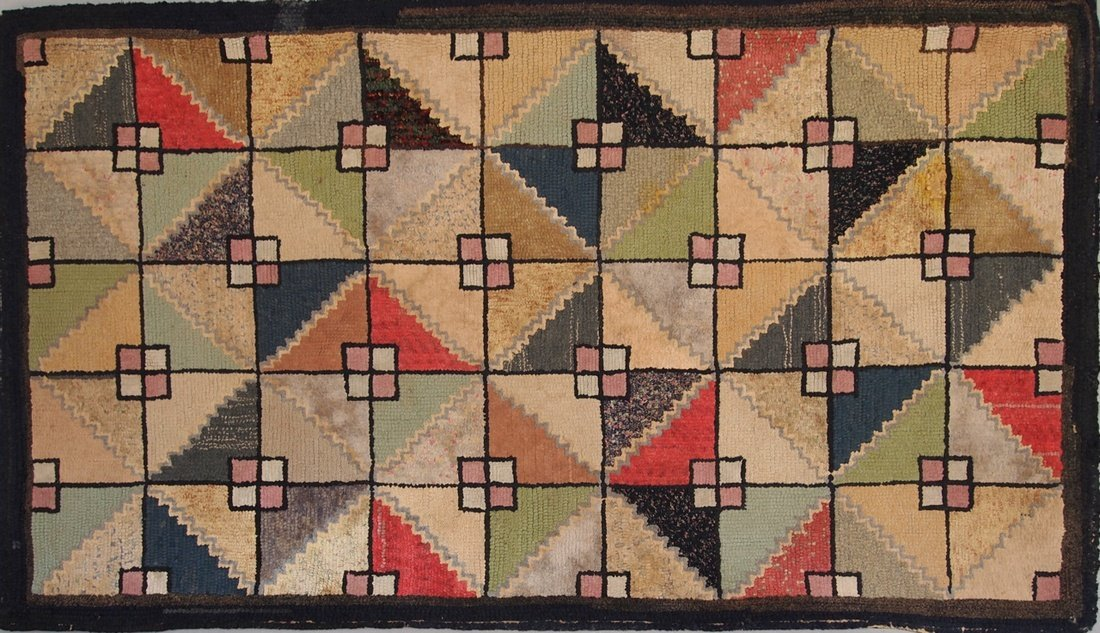 Antique Early Modernist Hooked Rug